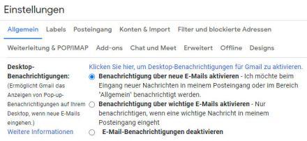 Aktivierung und Deaktivierung der Benachrichtigungen in Gmail