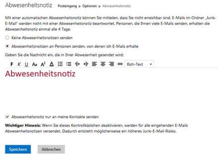 Abwesenheitsnotiz für Outlook.com / Hotmail festlegen