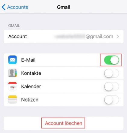 iOS: Email Account löschen
