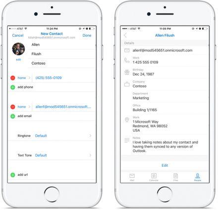 """Microsoft Outlook in der Version für iOS und Android bekommt ein Update für die Funktion """"Personen"""""""