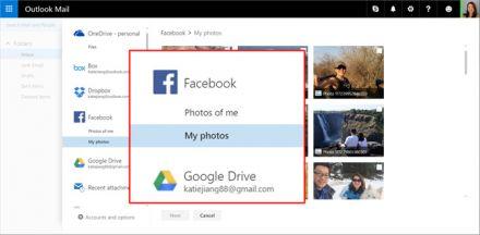 Outlook.com: Unterstützung für Google Drive und Facebook Fotos