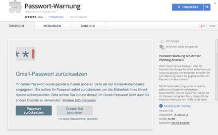 Passwort-Warnung Google Chrome