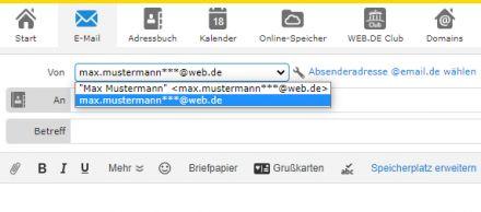 Absendernamen für ausgehende Emails direkt einstellen