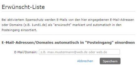 Die Erwünscht-Liste und die Sperrliste bei WEB.DE Mail
