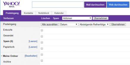 Die Standardversion von Yahoo Mail