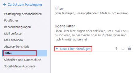 Yahoo Mail: Neue Filter hinzufügen