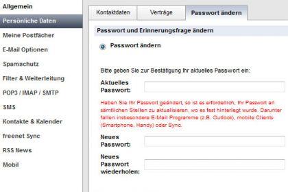 FreenetMail Passwort ändern