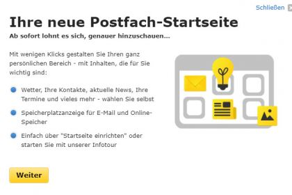Postfach Startseite bei Web.de selber erstellen