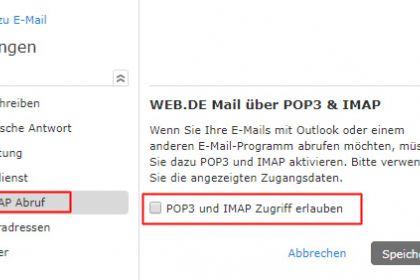 POP3/IMAP-Einstellungen für WEB.DE Mail
